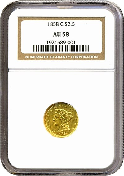 Image of 1858-C $2 1/2  NGC AU58