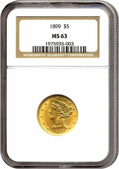 Image of 1899 $5  NGC MS63