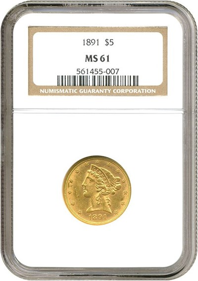 Image of 1891 $5  NGC MS61