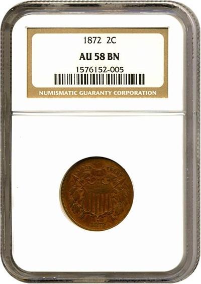 Image of 1872 2c  NGC AU58 BN