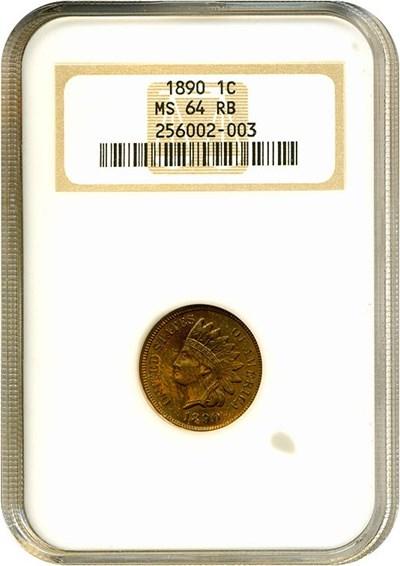 Image of 1890 1c  NGC MS64 RB