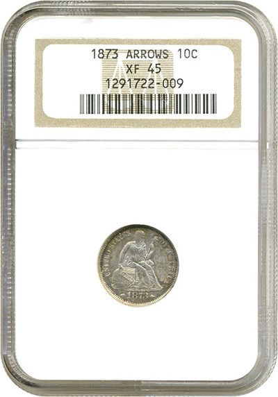 Image of 1873 10c Arrows NGC XF45
