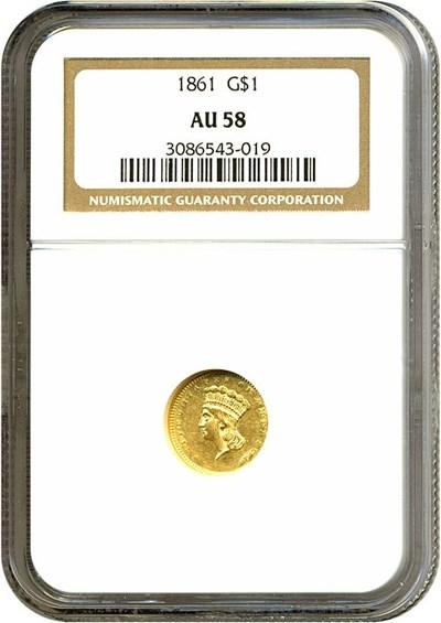 Image of 1861 G$1  NGC AU58