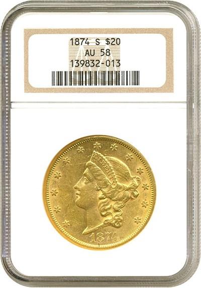 Image of 1874-S $20  NGC AU58