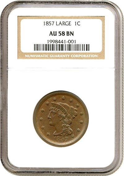 Image of 1857 1c Large Date NGC AU58 BN