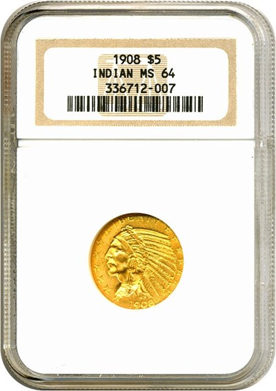 Image of 1908 $5 Indian NGC MS64