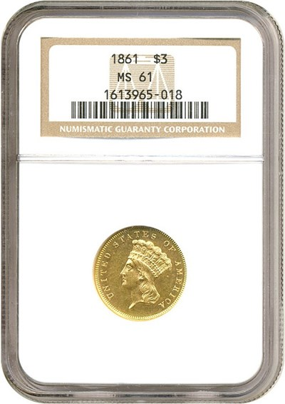Image of 1861 $3  NGC MS61