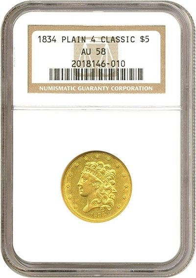 Image of 1834 $5 Plain 4 NGC AU58