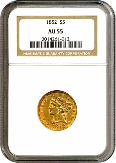 Image of 1852 $5  NGC AU55