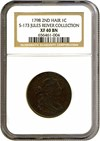 Image of 1798 1c 2nd Hair Style NGC XF40 BN (S-173) Ex: Jules Reiver Collection