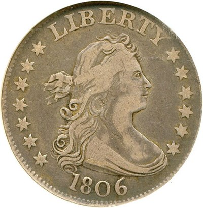 Image of 1806 25c  NGC/CAC VF25