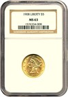 Image of 1908 $5 Liberty NGC MS63