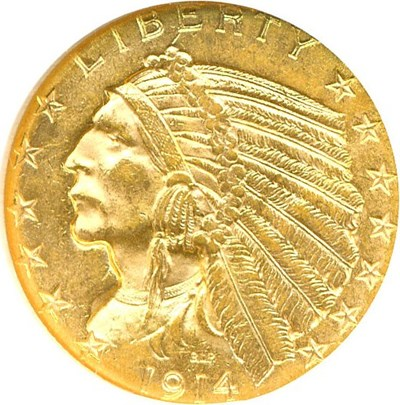 Image of 1914-D $5  NGC MS62