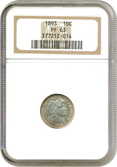 Image of 1893 10c  NGC Proof 63