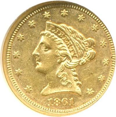 Image of 1861 $2 1/2 Type 2 NGC AU55