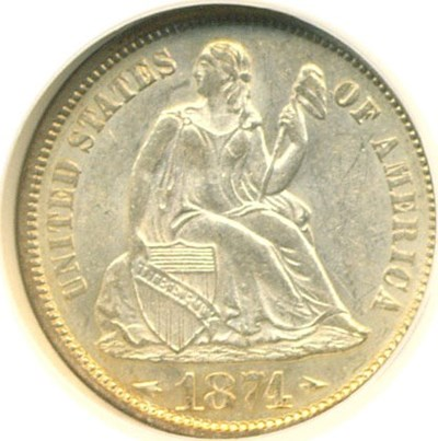 Image of 1874 10c Arrows NGC MS61
