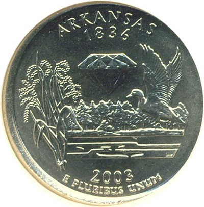 Image of Error: 2003-P 25c Arkansas NGC MS66 - Broadstruck