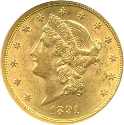 Image of 1891-S $20  NGC MS62
