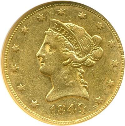 Image of 1849 $10  NGC AU50