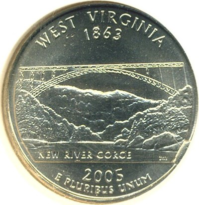 Image of 2005-P 25c West Virginia NGC MS65 Reverse Die Break @ 4:00