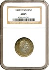 Image of 1883 25c Hawaii NGC AU55