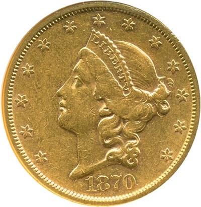 Image of 1870-S $20  NGC AU53