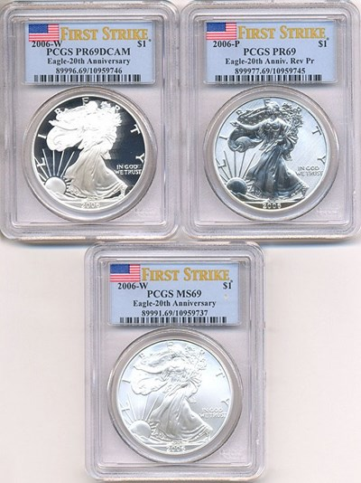 Image of First Strike: 2006-W $1 Set 20th Anniversary Silver Eagle Set PCGS PF69/MS69/Rev.Proof 69 (3 coins)