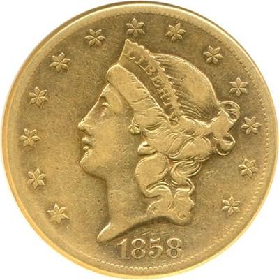 Image of 1858-S $20  NGC F15