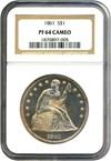 Image of 1861 $1  NGC Proof 64 Cameo