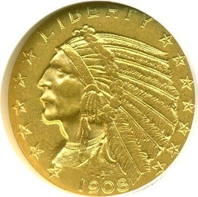 Image of 1908 $5 Indian NGC AU55