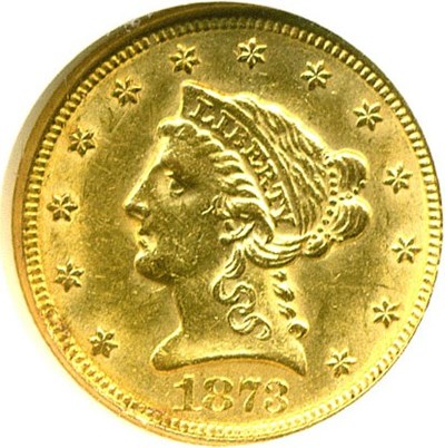 Image of 1873 $2 1/2 Closed 3 NGC AU58