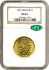 Image of 1907 $10 No Motto NGC/CAC MS65
