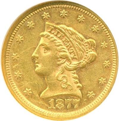 Image of 1877 $2 1/2  NGC AU50