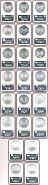 Image of 1986-2007 $1 Silver Eagle Set (22 coins) NGC MS69