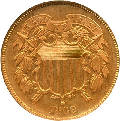 Image of 1869 2c  NGC Proof 64 RD
