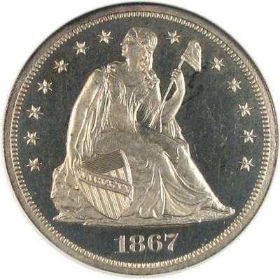 Image of 1867 $1  NGC Proof 64 Cameo