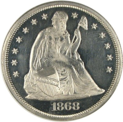 Image of 1868 $1  NGC Proof 64 Cameo