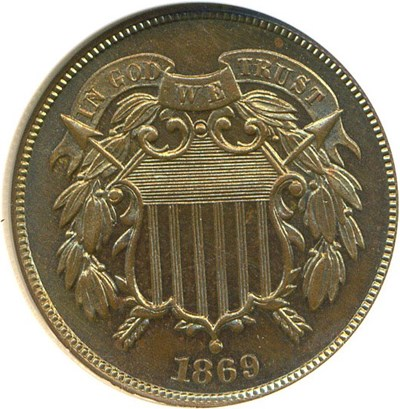 Image of 1869 2c  NGC Proof 64 BN