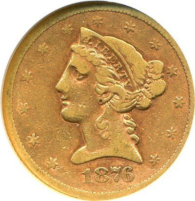 Image of 1876-S $5  NGC F12