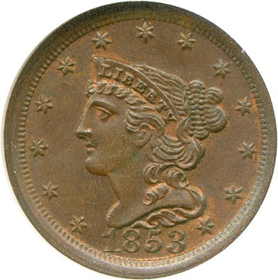 Image of 1853 1/2c  NGC/CAC MS65 BN