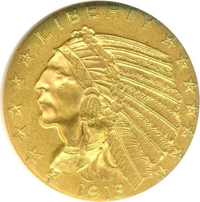 Image of 1915 $5  NGC MS61
