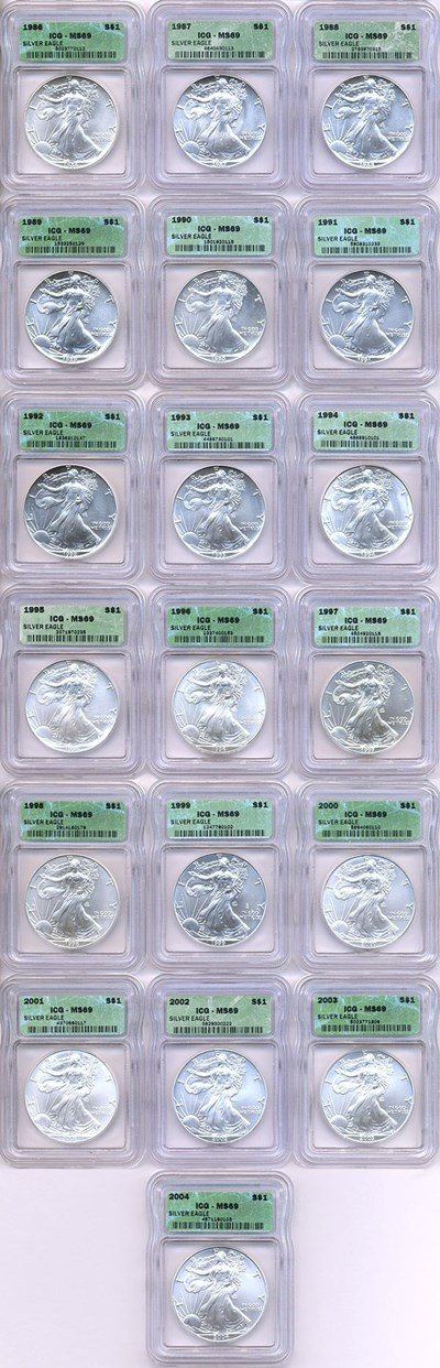 Image of 1986-2004 $1 Silver Eagle Set (19 coins) ICG MS69