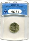 Image of 2005-P 5c Bison ANACS MS64 *Detached Leg*