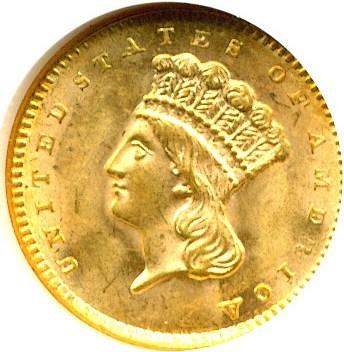 Image of 1856 G$1 Slanted 5 NGC/CAC MS63