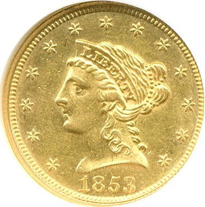 Image of 1853 $2 1/2  NGC AU58