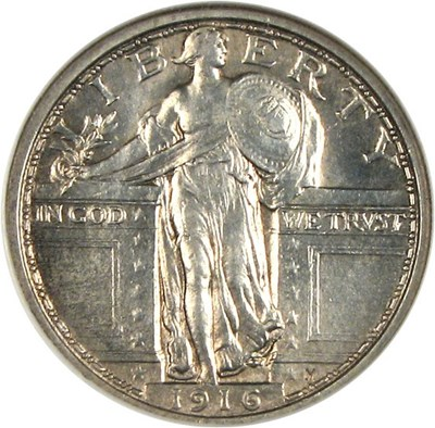 Image of 1916 25c Standing NGC MS62 FH