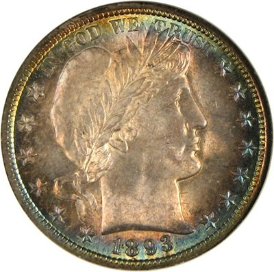 Image of 1893 50c  NGC/CAC MS63 *Color*