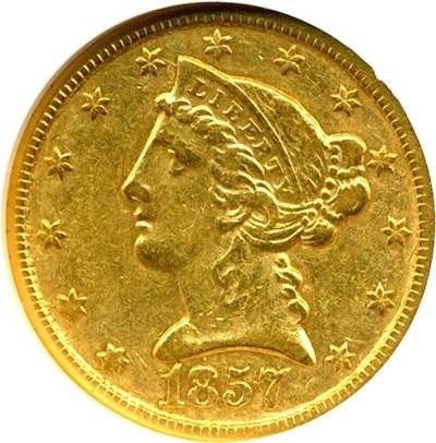 Image of 1857-C $5  NGC XF45
