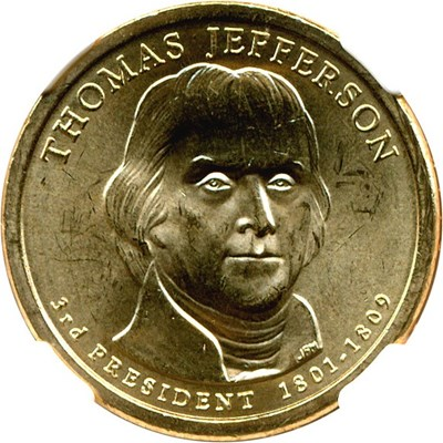 Image of 2007-P $1 Thomas Jefferson NGC Brilliant Unc.