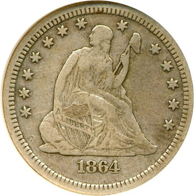 Image of 1864-S 25c  NGC VF35